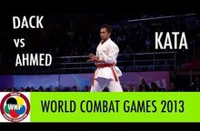 Karate Men's Kata. Finals Bronze Medal Fight. Vu Duc Minh DACK of France vs Ibrahim Magdy Moussa Ibra AHMED of Egypt