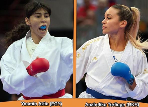 In Female Kumite -55kg Anzhelika Terliuga clashes against Yasmin Attia