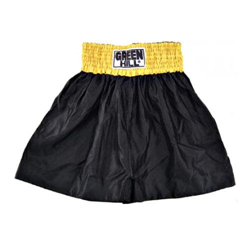 Шорты (трусы) для тайского бокса и кикбоксинга THAI-BOXING черные с желтым поясом