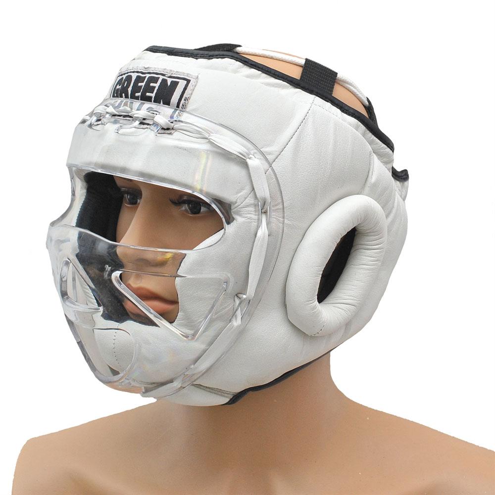 Шлем SAFE для бокса, кикбоксинга с маской, защитой лица. Усиленная защита, натуральная кожа