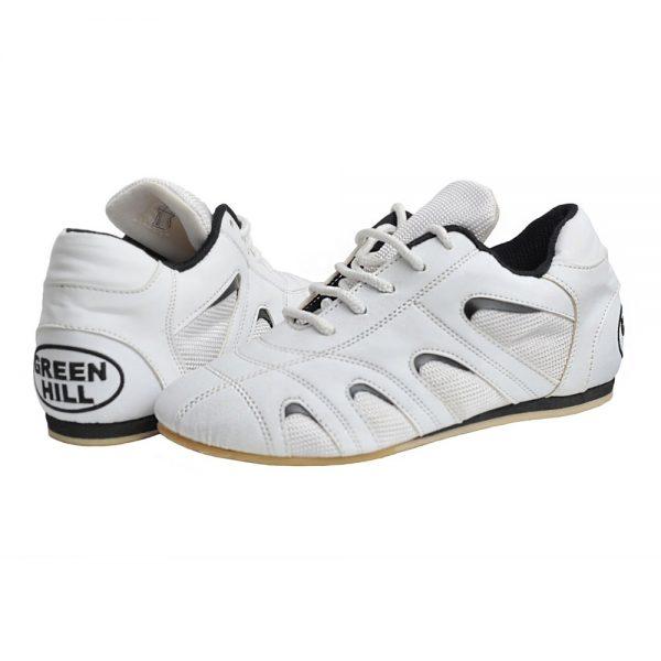 Туфли для таэквандо белые+черные вставки