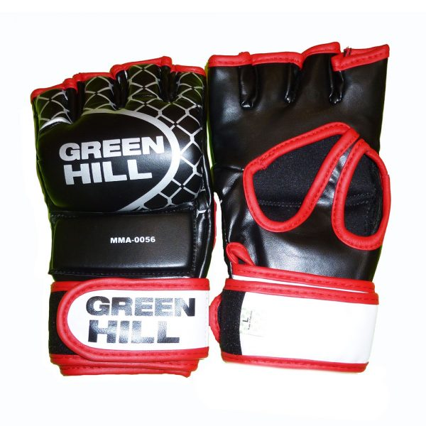 Перчатки MMA черные с красным кантом кожзаменитель. Все размеры