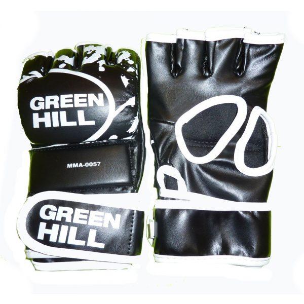 Перчатки MMA черные с белым кантом кожзаменитель. Все размеры