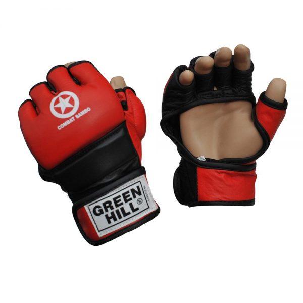 Перчатки MMA COMBAT SAMBO красные натуральная кожа специальное утолщение на кулаке