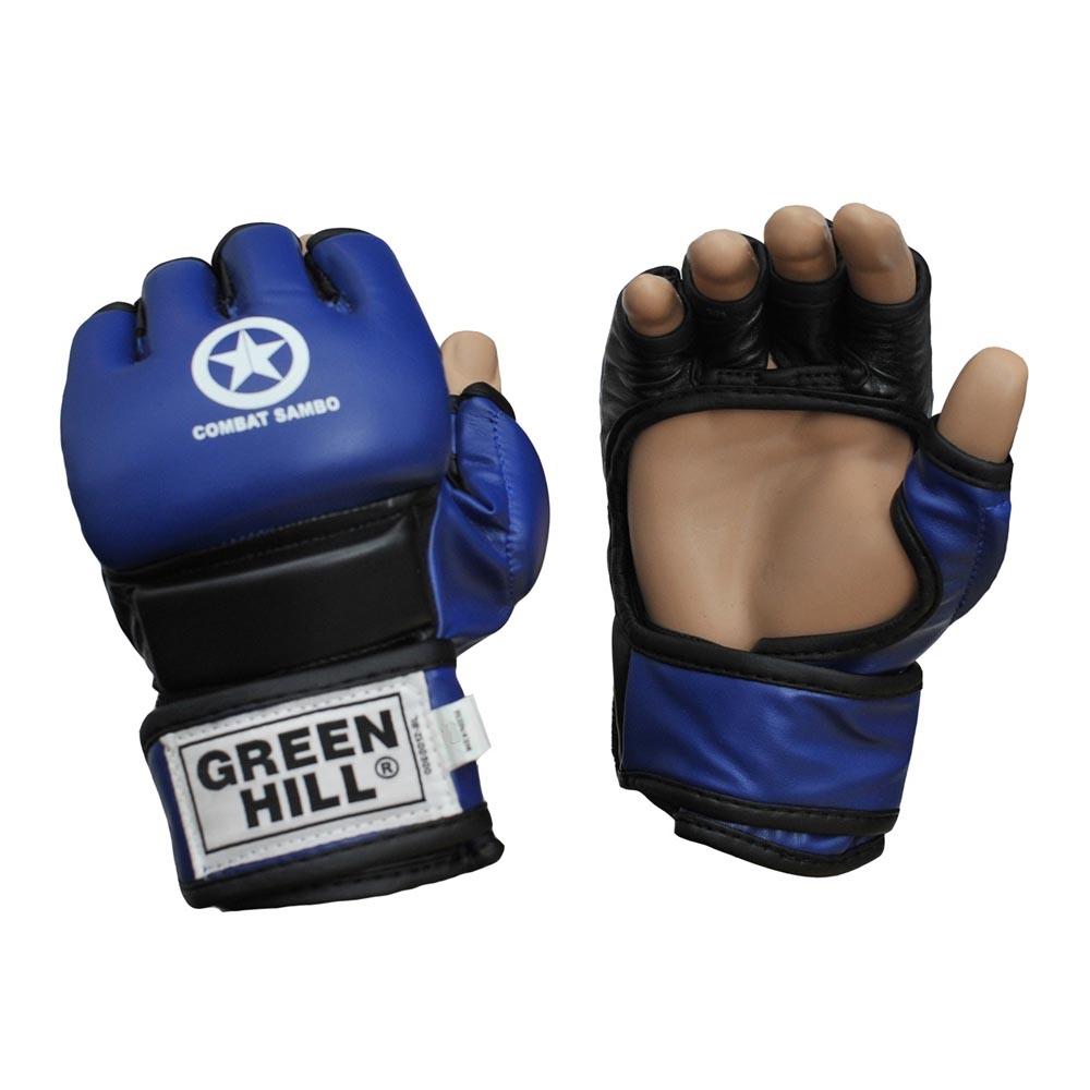 Перчатки MMA синие кожзаменитель COMBAT SAMBO для любых видов единоборств