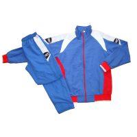 Костюм спортивный синий полиэстер для занятий спортом и повседневного ношения.