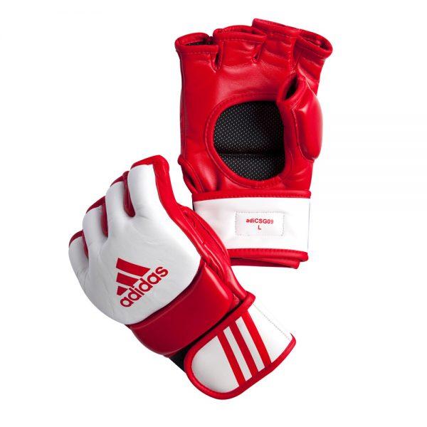 Перчатки для смешанных единоборств Competition/Training Gloves из натуральной воловьей кожи с красными вставками из вспененного полимера