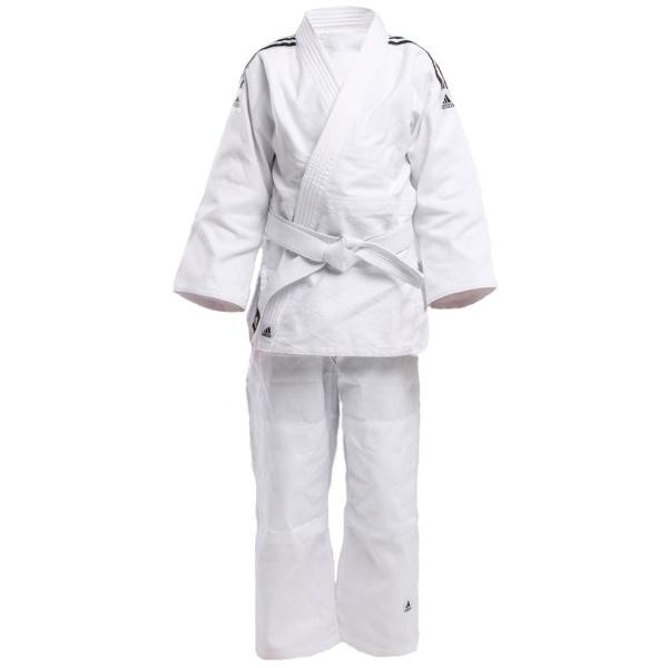 Кимоно для дзюдо подростковое Адидас Club белое из смеси полиэстера и хлопка для детей и начинающих спортсменов