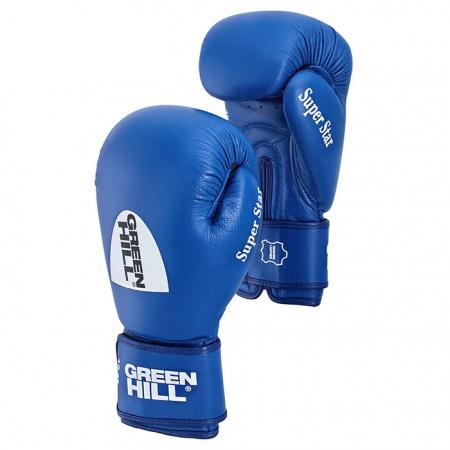 BGS-1213a Перчатки для бокса Super Star Green Hill из натуральной кожи (одобрено AIBA)