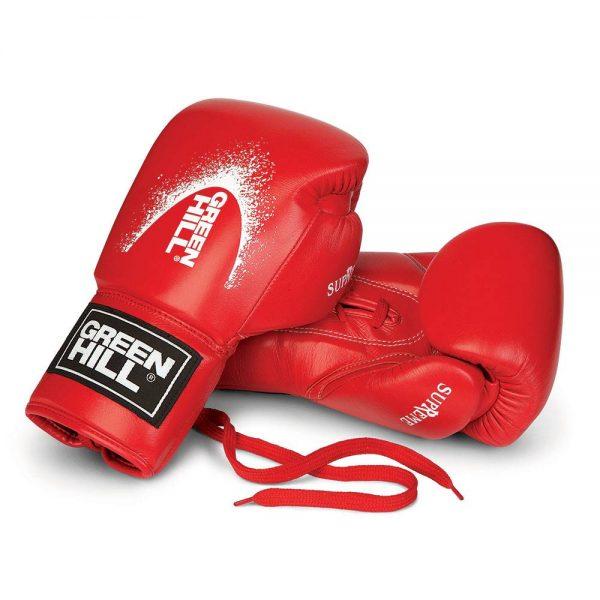 Перчатки для кикбоксинга из натуральной кожи SUPREME для тренировок и спаррингов Green Hill