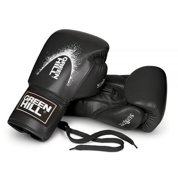 Перчатки для кикбоксинга из натуральной кожи SUPREME для тренировок и спаррингов Green Hill черные