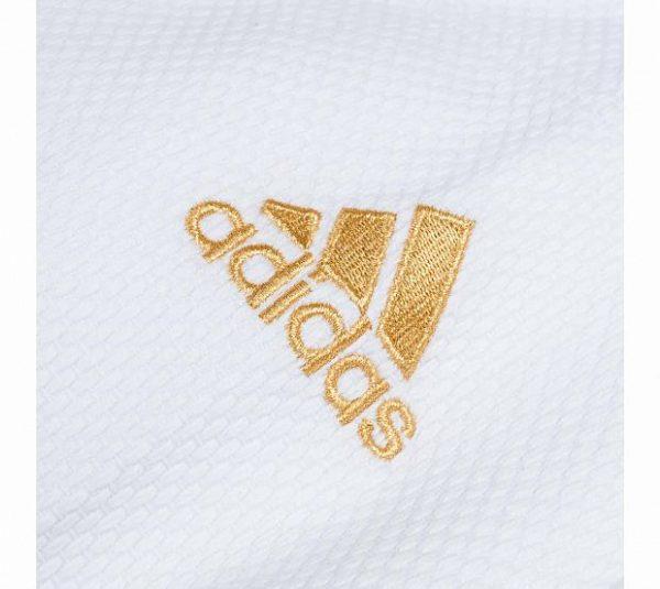 Кимоно для дзюдо Adidas Champion 2 IJF SLIM FIT OLYMPIC белое, плотная ткань, усилено в областях с высокой нагрузкой