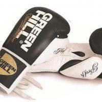 BGP-2014B Кожаные профессиональные боксерские перчатки PROFFI черные/синие с белым Green Hill