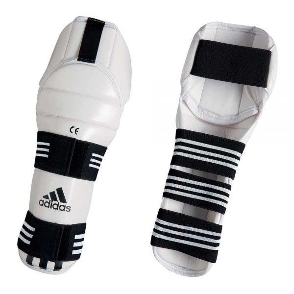 Защита голени и колена для тхэквондо WTF Adidas SHIN & KNEE Pad protector белая анатомическая (полиуретан)