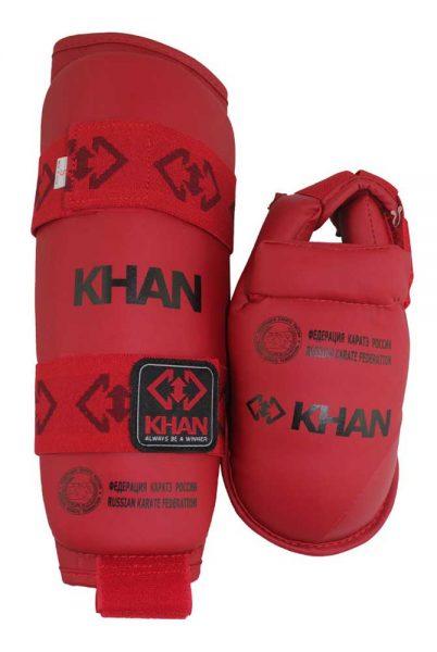 FKR23001 Защита голени и стопы для карате, сертифицированная ФКР, красная/синяя KHAN
