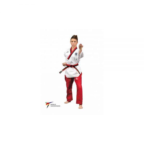 TA3016 Форма для тхэквондо Poomsae Poom Female Пхумсэ Пум для девочек бело-красный Daedo