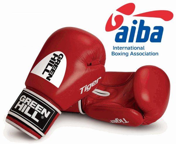 BGT-2010a Боксёрские перчатки TIGER одобренные AIBA 2017 красны/синие Green Hill