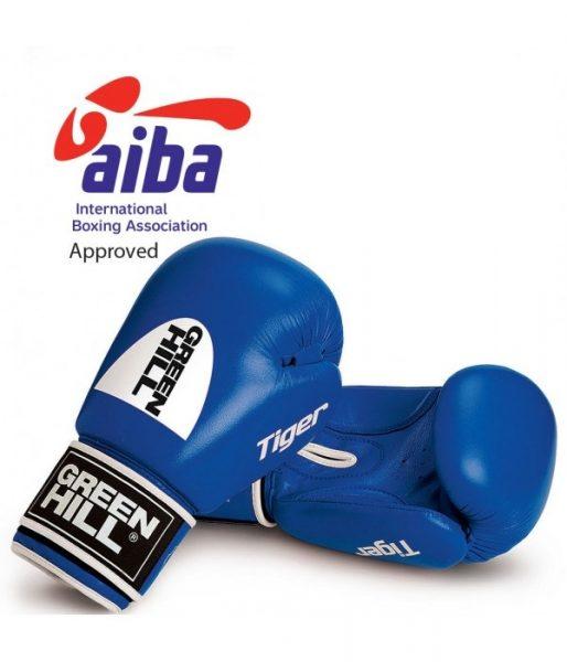 BGT-2010a Боксёрские перчатки TIGER одобренные AIBA 2017 синие Green Hill