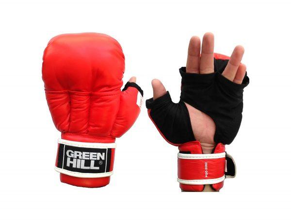 Перчатки для рукопашного боя (2 прорези) Green Hill красные натуральная кожа