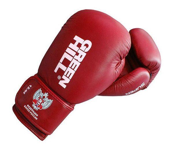 Перчатки боксерские Green Hill Super, c логотипом Федерации бокса России