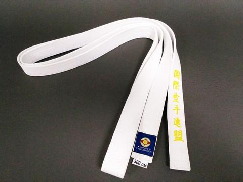 пояс киокушинкай с вышивкой IFK белый
