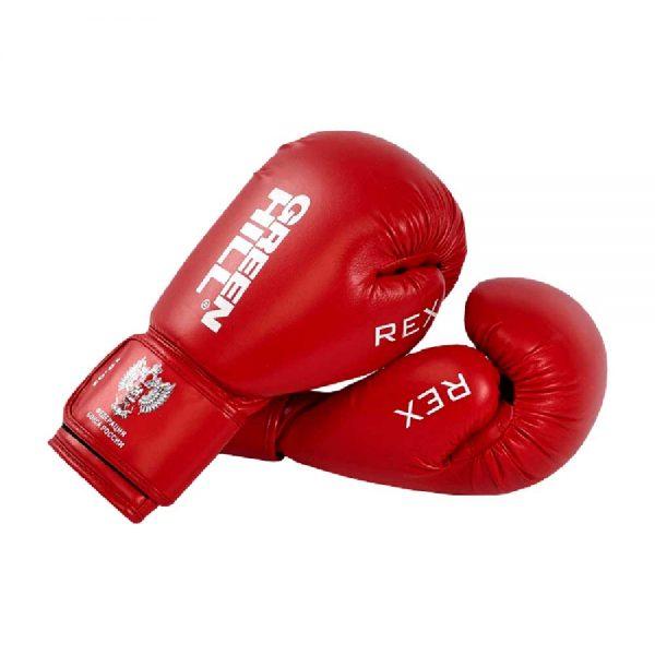 BGR-2272F Боксерские перчатки REX одобренные Федерацией бокса России Green Hill красный