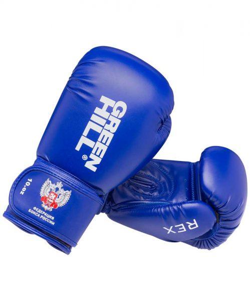 BGR-2272F Боксерские перчатки REX одобренные Федерацией бокса России Green Hill синий