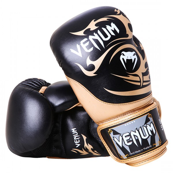 Боксерские перчатки Venum Tribal Boxing Gloves - Black/Gold - Nappa leather