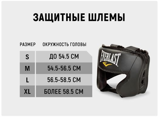 Таблица размеров шлемов Everlast