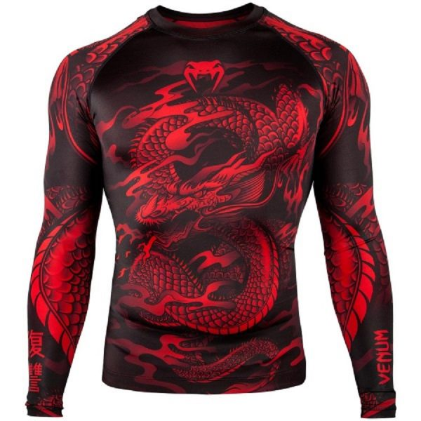 Рашгард Venum Dragon's Flight Black/Red L/S (тренировочная форма)