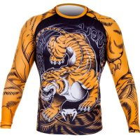 Рашгард Venum Tiger Black/Orange L/S