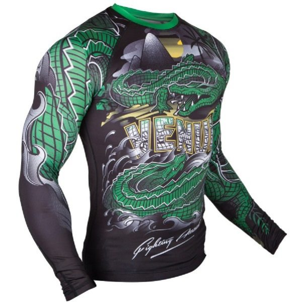 Рашгард Venum Crocodile Black/Green L/S