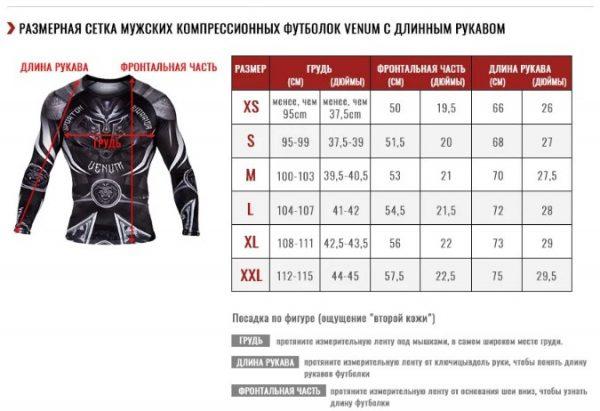 Таблица размеров рашгардов Venum