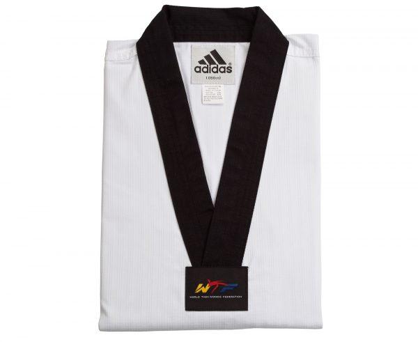 Добок для тхэквондо WTFAdi-Champion 2 (белый с черным воротом, без пояса) Adidas