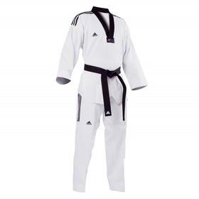 Добок для тхэквондо WTFAdi-Champion 3 (белый с черным воротом, без пояса) Adidas
