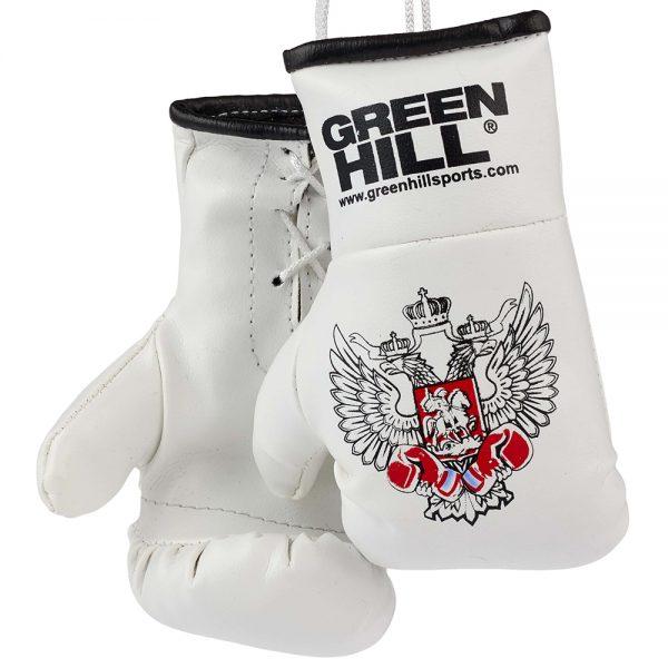 MG-1004 Сувенирные боксерские перчатки Федерация Бокса России синие/красные/черные Green Hill белые