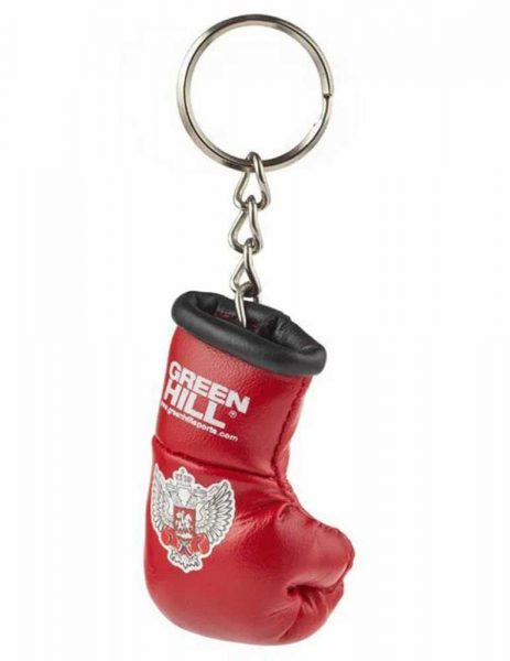 KR-1007-FBR Брелок сувенирный боксерская перчатка Федерация бокса России золотистый/серебристый/синий/красный Green Hill красный