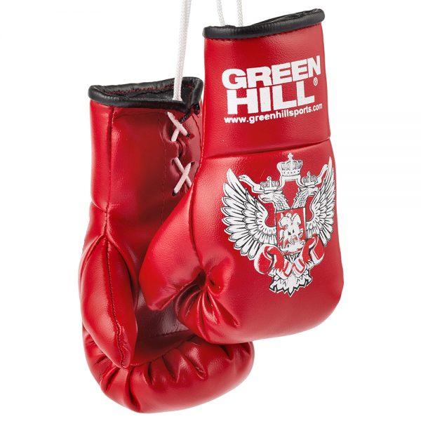 MG-1004 Сувенирные боксерские перчатки Федерация Бокса России синие/красные/черные Green Hill красные