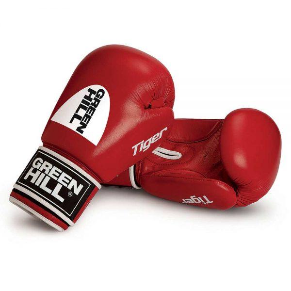 BGT-2010c Кикбоксерские перчатки TIGER 10oz красные c новым логотипом Green Hill