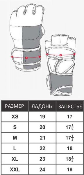 MMU-0111 Перчатки СОЮЗ MMA РОССИИ черно-красные/синие/оранжевые Green Hill таблица размеров