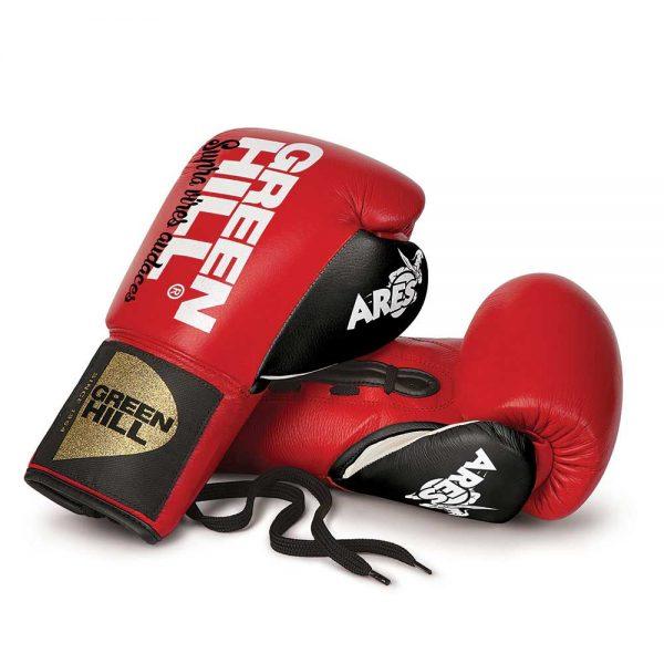 BGA-2264 Перчатки боксерские кожаные ARES красные Green Hill