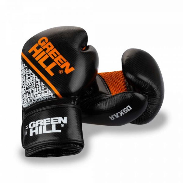 BGO-2274 Боксерские перчатки OSKAR черно-оранжевые Green Hill