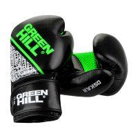 BGO-2274 Боксерские перчатки OSKAR черно-зеленые/оранжевые Green Hill