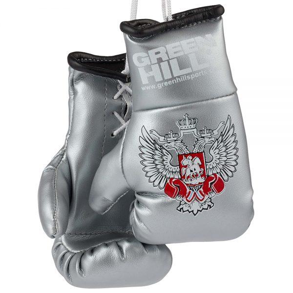 MG-1004 Сувенирные боксерские перчатки Федерация Бокса России синие/красные/черные Green Hill серебро