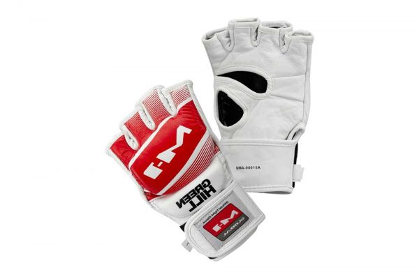 MMA-00015a Официальные матчевые перчатки MMA M-1 красно-белые Green Hill