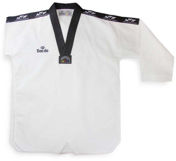 TA2005 Форма для тхэквондо (добок) Competition World Taekwondo Approved белый с черным DAEDO