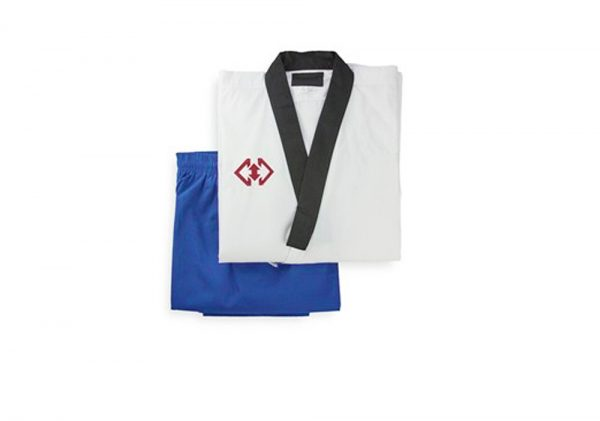 TPU004 Пхумсэ добок для женщин белый с синим Poomsae Dan Dobok Female Khan