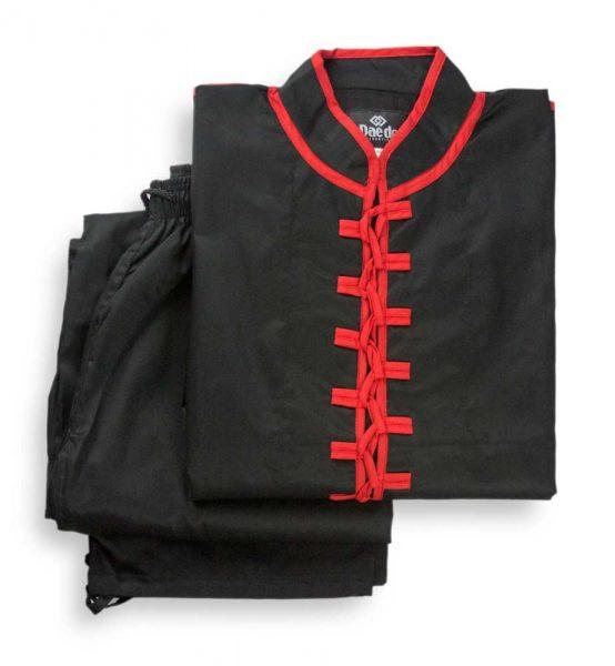 KU1252-KU1252BK Униформа для Тайчи (Ушу) белая, черная Daedo