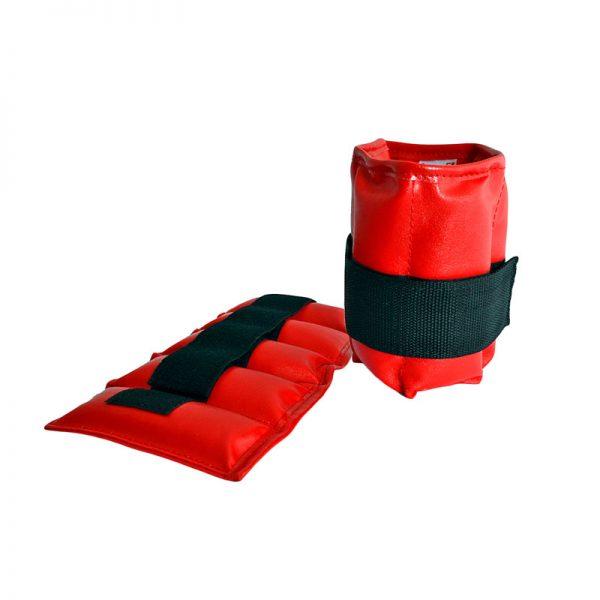 Утяжелители песочные для рук и ног красные натуральная кожа Леоспорт