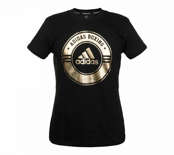 Футболка Adidas Combat Sport T-Shirt Boxing черно-золотая хлопок